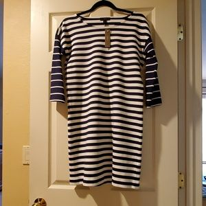 JCrew Navy and Cream Boat Neck Dress